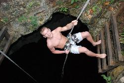 Repelling 40 feet into a cenote (36444220)