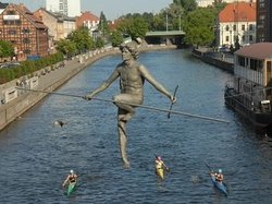 The sculpture Man crossing the river