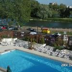 View from hotel room of pool and Loire river