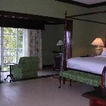 The bedroom area of the suite