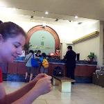 My sister in the hotel lobby