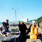 Handcrafts for sale at the Listvyanka dock