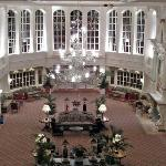 The hotels main reception foyer at night