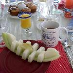 Sample breakfast, muffin, fruit and then strawberry French Toas