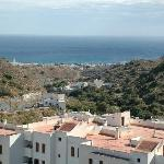 Panoramic view from Mojacar pueblo, Parador in centre view in distance by sea