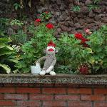 Sock-Monkey enjoing a morning coffee in the gardens