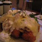 Chicken cordon bleu from room service