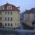 Hotel Certovka viewed from the Charles Bridge. Prague