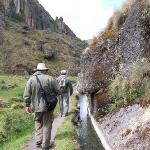  Steve and Carlos walk by the ancient canal above Cajamarca