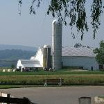 View of Amish Farm next to the motel.  Notice the Amish farmer and horse drawn plow.