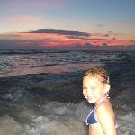 My daugter on the beach with the beautiful sunset!