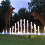 Illuminated water feature and animal sculptures in Jesolo