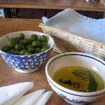  the house-cured olives and olive oil