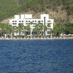 View of Hotel Laguna while out on a boat trip