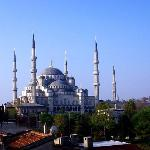 View from of Blue Mosque from Hotel Uyan rooftop