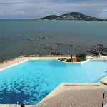 The pool and lagoon, Noumea in the far distance