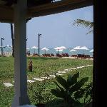 view out of window of beachfront villa A1