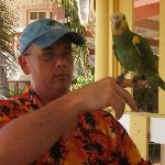 Me with the one of the bartenders friendly birds.......