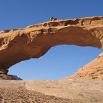 The top of the arch at the Wadi Rum