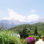 taurus mountain. the main hotel is on the right, the bunaglows are on the left behind the...
