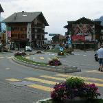 Carrefour central in Verbier, hotel is on the opposite side of the roundabout, on the left