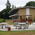 Outdoor area in the back of the Crest Motel, Astoria, Oregon