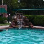  The rock fountain in the pool