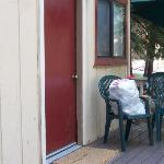 Garbage bag on Alder cabin porch