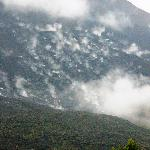 Daytime lava flow - the smoke dots are the chunks of hot boulders impacting the side of the...