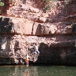 Rock jumping into Oak Valley Creek (next to Sedona)