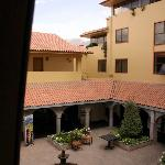 View of the hotel courtyard from our room.