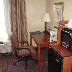 Holiday Inn Express Desk Refrigerator and Microwave