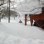 Deep snow in the town playground