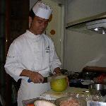 Preparing the pomelo salad