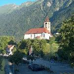 Brienz church from hotel balcony