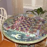 The hand painted game table.