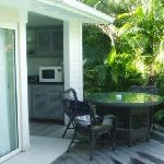 Outdoor seating and kitchen area