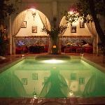 Night view on pool and courtyard.