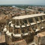 Tortosa-Cathedral, River & Town-view from Parador terrace
