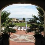 view through the arch to the sea