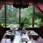 Our breakfast table and view to the pond