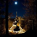 Fantoft stave church by night
