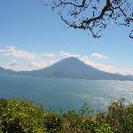 View of Lake Atitlan going into Panajachel