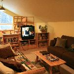 The Lounge, upstairs, offers DVD, a library and comforable amenities.