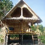 Our Bamboo hut, and me sorry to be leaving