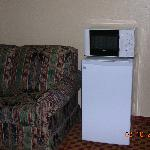 mini fridge, microwave, loveseat