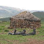 Lesotho village near the Sani Top Chalet