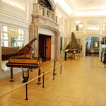 Hall with variety of pianos