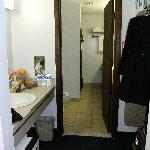 hall w/fridge to bath
