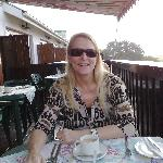  My wife at breakfast